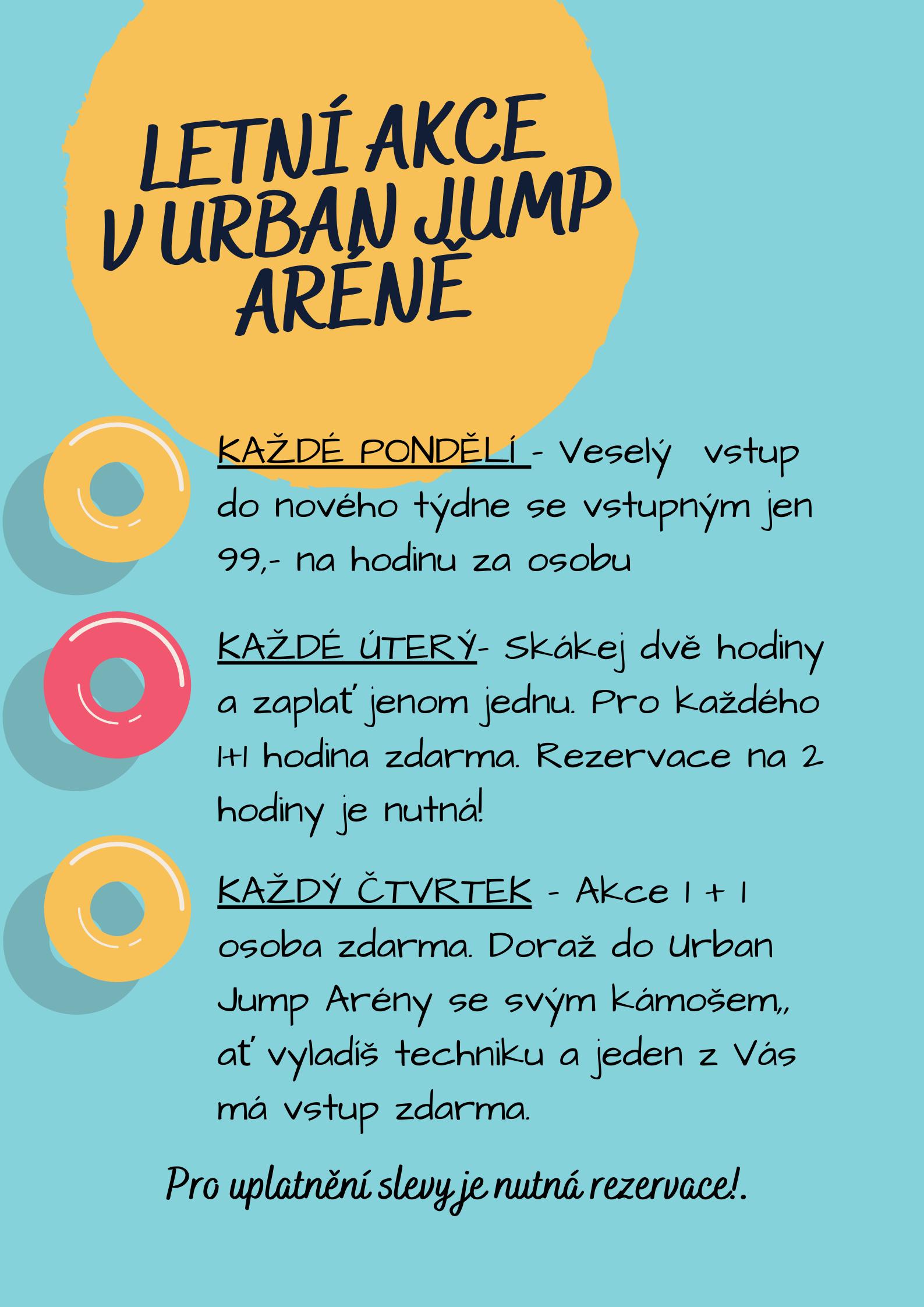 Letní akce v Urban Jump Aréně